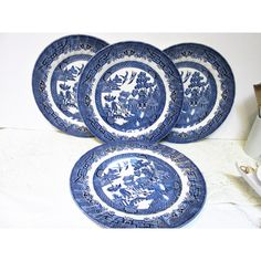 Plates, Asian Blue Willow, Dinner Plates, Porcelain Dinner Plates,... ($36) ❤ liked on Polyvore featuring home, kitchen & dining and dinnerware