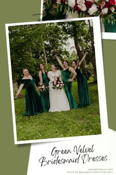 These green velvet bridesmaid dresses are perfect for an elegant garden wedding! This bridal party is wearing the styles Keely, Mila, Skylar, Evelyn in the color 'Emerald' from Kennedy Blue. Find the perfect bridesmaid dresses in Kennedy Blue! // green bridesmaid dress // unique velvet bridesmaid dress // velvet green dress // garden wedding // elegant velvet bridesmaid dress // deep emerald green wedding // mix and match bridal party // mismatched bridesmaid dresses Velvet Bridesmaid Dresses, Mismatched Bridesmaid Dresses, Emerald Green Weddings, Unique Dresses, Green Velvet, Garden Wedding, Green Dress, Elegant Wedding, Bridal
