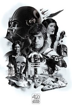 Can you believe it's been 40 years since the likes of Luke Skywalker and Obi-Wan Kenobi graced our cinemas! This black and white montage poster from Star Wars featuring some of the best loved characters, is a must have for any galactic geek! May the force be with you. Official merchandise.
