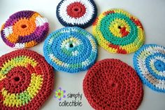 Soft Flyers free crochet pattern makes the best pool toy, indoor frisbee golf, occupational therapy tool, toddler toy, man cave toy, picnic toy, even pet toy. (NOT intended to be a chew toy.) Using cotton and an H/8 hook, this is a simple pattern that works up in 20 minutes or less.   http://simplycollectiblecrochet.com/2016/06/soft-flyers-free-crochet-pattern/