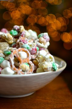 Reindeer Chow Recipe - Rice Chex, Mini Pretzels, Mini Marshmallows, M&Ms, Salted Peanuts, and Melted White Chocolate!