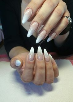 #long #almond #acrylic #nails #ombre #nailart #white #baby_boomer