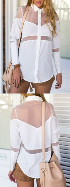 White Sheer Insert Plain Asymmetric Shirt