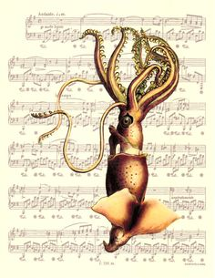 Giant Squid, Victorian Era Art, Sheet Music Art, Poster and Print, Unique Gift, Book Art, Dorm Room, Wall Decor, Wall Hanging, Sealife