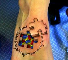 Puzzle Tattoo Designs : Autism Puzzle Piece Tattoo Designs On Feet Amazing 3d Tattoos, Best 3d Tattoos, Tattoos 3d, Autism Tattoos, Kunst Tattoos, Neue Tattoos, Body Art Tattoos, Tatoos, Sleeve Tattoos