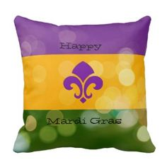 Mardi Gras tri-colored pillow w/fleur de lis