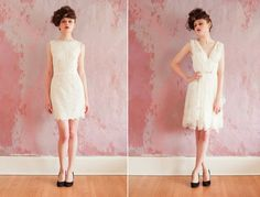 lace LWDs for the wedding reception short wedding dress with v-neck or straight neckline