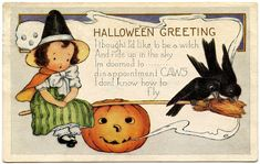 Halloween Clip Art – Cute Little Witch with Crows