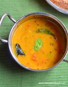 Instant sambar recipe without dal, vegetables and coconut for idli, dosa. Its an easy, simple and plain sambar for tiffin known as dhidir sambar in Tamil. Best Vegetarian Recipes, Veg Recipes, Indian Food Recipes, Gourmet Recipes, Cooking Recipes, Ethnic Recipes, Savoury Recipes, Recipies, Sambhar Recipe