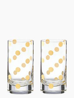 want a beverage that hits the spot? start with these gorgeous, gold-dotted glasses — the pearl place hiball set by kate spade new york. (october 2014)