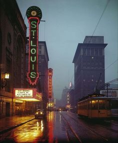View of the St. Louis theater district on Grand Avenue. The neon signs and streetcars are but a memory now. Photograph by Russell Froelich, 1944. Missouri History Museum.
