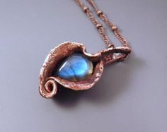 Rainbow Labradorite Electroformed Copper One of a Kind