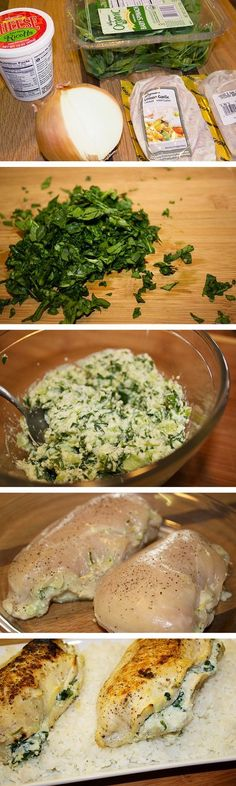 Spinach and ricotta stuffed chicken. Stuffed chicken recipes. Easy recipes for chicken breast.