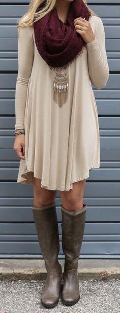 #fall #fashion / burgundy scarf + dress