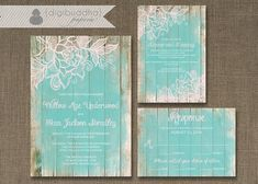 Lace Wood Wedding Invitation 3 Piece Suite Reception Response RSVP Shabby Chic Beach Aqua Pink DIY Digital or Printed - Willow Style