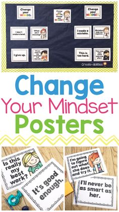 Growth mindset can be powerful for our students in every classroom. This poster set is a great way to help adjust your students negative self-talk. Each poster gives examples of ways to turn negatives into positives. Behavior Management, Classroom Management, 5th Grade Classroom, Classroom Ideas, Growth Mindset Posters, Spanish Posters, Activities For Boys, Classroom Community, Change Your Mindset