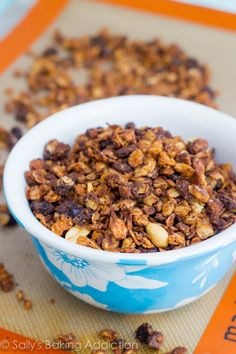 My favorite granola recipe over the past few years. If you like oatmeal raisin cookies (and peanut butter) you'll love this!