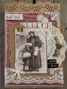 God Jul ~ Charming heritage Christmas page with a photo matt made from layered doilies, border stickers and corrugated cardboard.