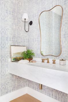 Eskayel wallpaper brightens up the powder room, which boasts a vintage mirror and sleek Urban Electric Co. Bathroom Color Schemes, Bathroom Paint Colors, Powder Room Wallpaper, Of Wallpaper, Wallpaper Patterns, Wallpaper Ideas, Half Bathroom Wallpaper, Closet Wallpaper, Interior Wallpaper