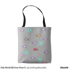 Fish World All Over Print Tote Bag