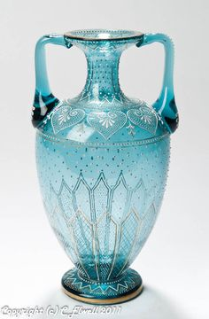 Austro/Bohemian Antique Blue Glass & Jewelled Enamelled Vase