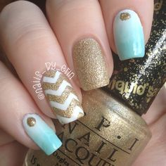 Mint and Gold Gradient and Chevron Nails nail art by Erin