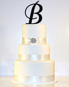 "6"" Monogram Acrylic Wedding Cake Topper in Any Letter A B C D E F G H I J K L M N O P Q R S T U V W X Y Z . Order a silver mirror front of the letter P"