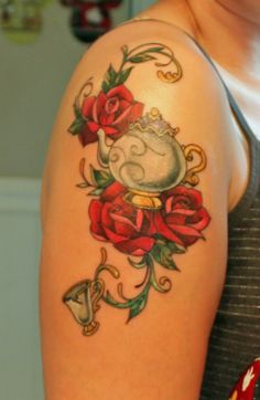 Mrs. Potts and Chip from Beauty and the Beast.  Done by Jess Guercia at White Mountain Tattoo.