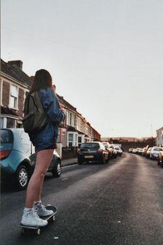I skate alone. Just me and my thoughts. I slip on my headphones and melt into th… I skate alone. Skater Girl Style, Skater Girl Outfits, Fjallraven, Images Esthétiques, Skate Girl, Skateboard Girl, Longboarding, Tumblr Girls, Skateboards