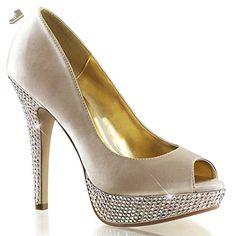 Womens Nude Champagne Satin Pumps Shoes with Rhinestone Base and 5'' Heels Size: 10 - Summitfashions pumps for women (*Amazon Partner-Link)