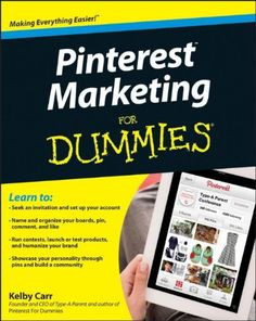 Pinterest Marketing For Dummies (For Dummies (Computers)) By Kelby Carr, Price: $12.90 Tap into the marketing power of Pinterest. People are using Pinterest to organize their digital lives. This hot social site lets users create visual bookmarks of their favorite things and 'pin' them on virtual pinboards. Now you can learn how to market on Pinterest with this hands-on guide. http://astore.amazon.com/best-books-worth-to-buy-20/detail/111838315X