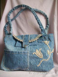 Sana Adicción: Muuuchas ideas para reciclar jean en bolsos