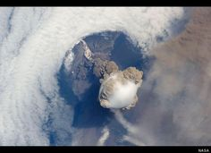 Astronauts at the International Space Station captured this striking view of the Sarychev volcano on Russia's Kuril Islands in an early stage of eruption on June 12, 2009. Sarychev Peak is one of the most active volcanoes in the Kuril Islands chain.