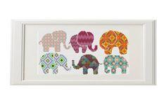 Elefante do ponto da cruz padrão Elephant Conjunto de 6 cruz animais ponto cruz Geometric pontos Multicolor ponto cruz moderna crossstitch