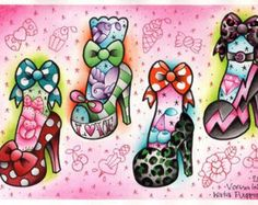 Vorssa Ink by Kata Puupponen Tattoo Flash Print Sheet heels