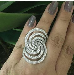 Pave set right hand ring cocktail white handmade solid 925 sterling silver women #NikiGems #Statement #Anniversary