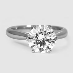 Platinum Catalina Ring // Set with a 2.18 Carat, Round, Super Ideal Cut, H Color, VVS2 Clarity Diamond #BrilliantEarth