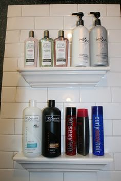Bathroom Tile Storage. We have this awful tile in our bathroom but I don't hate this!