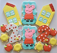 Its a Peppa Birthday Party!!!Celebrate with these cute little cookies :)Shes ready to make your day, ever so special!!Cookies are handmade and decorated just for you! Theyre always hand made and fresh for you!Set comes with the following designs:3inch-3.5inch cookies:-Peppa Pig-House-Matching Numbers1inch cookies:-6 apples-6 sunsCookies come packaged and sealed for max freshness and protection.Please feel free to message me for any other quest...