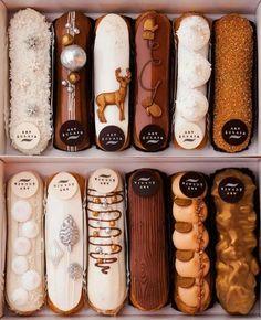 French Desserts, Cute Desserts, Chocolate Desserts, Dessert Recipes, Chocolate Decorations, Eclairs, Patisserie Fine, Eclair Recipe, Book Cakes