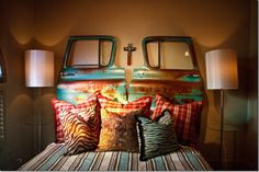 Wow!! Headboard made from the doors of an old pickup truck