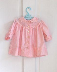 Baby GIrls Vintage Swiss Dot Pink Dress or Coat (6 months).