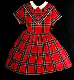 """Vintage, plaid, """"first day of school"""" little girl's dress....."""