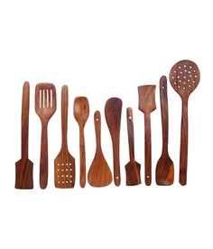 Deluxe, Extra-large Spoon Set, Ten Spoons Hand-carved from Sheesham Wood (Indian rosewood)