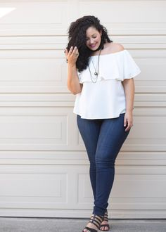 Off Shoulder Top, Jeans and layered Chocker Necklaces worn by Tanesha Awasthi, founder of Girl With Curves
