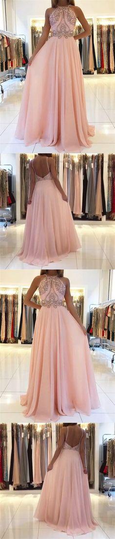 A-Line Spaghetti Straps Keyhole Backless Pink Chiffon Prom Dress with Beading M1544#prom #promdress #promdresses #longpromdress #promgowns #promgown #2018style #newfashion #newstyles #2018newprom #eveninggown #aline #spaghettistraps #keyhole #backless #pink #chiffon #beading