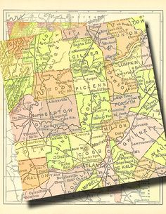 map of Georgia from 1904....instant download... by artdeco on Etsy, $4.00