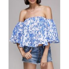 Chic Women's Off The Shoulder Ruffle Print Blouse