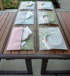Fabric holders for place mats and patio table settings.  http://thegardeningcook.com/best-diy-projects/