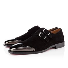 Christian Louboutin, Vikram Mens Flat Black Suede File under: Shoes, Monk straps, Wing tips